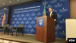 Ambassador Richard Olson, the U.S. special representative for Afghanistan and Pakistan, speaks Sept. 29, 2016, at an event organized by the Paul H. Nitze School of Advanced International Studies at Johns Hopkins University. (H. Alikoza/VOA)