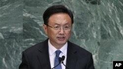 27일 제 67회 유엔 총회에서 연설하는 양제츠 중국 외교부장.