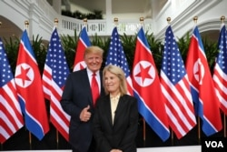 U.S. President Donald Trump is interviewed by VOA Contributor Greta Van Susteren shortly after the summit between Trump and North Korean leader Kim Jong Un concluded, June, 12, 2018, in Singapore.