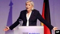 Marine Le Pen à Koblenz, en Allemagne le 21 janvier 2017.