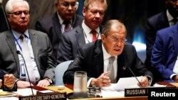 지난주 미국 뉴욕의 유엔본부에서 열린 제71차 유엔총회 일정중 시리아 사태 논의를 위한 긴급회의에서 발언하고 있는 세르게이 라브로프 러시아 외무장관.