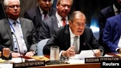 Ngoại trưởng Nga Sergei Lavrov phát biểu trong phiên họp Đại hội đồng Liên Hiệp Quốc, ngày 21 tháng 9 năm 2016.