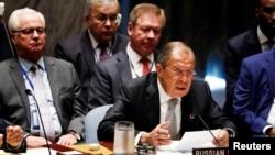 Ngoại trưởng Nga Sergei Lavrov phát biểu trong một cuộc họp của Hội đồng Bảo an Liên hiệp quốc để đánh giá tình hình Trung Đông trong kì họp lần thứ 71 của Đại hội đồng LHQ, New York, Mỹ, ngày 21 tháng 09 năm 2016.