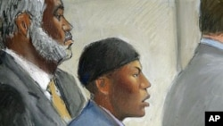 阿卜杜勒.穆塔拉布(素描畫像)在底特律法庭承認企圖炸毀一架美國航班的指控