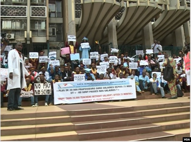 FILE - Teachers strike in front of the Ministry of Finance in Yaounde, Cameroon, March 28, 2017. (M.E. Kindzeka/VOA)