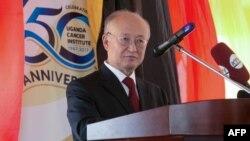 Yukiya Amano, directeur général de l'Agence internationale de l'énergie atomique (AIEA), donne un discours à Kampala, en Ouganda, le 19 janvier 2018.