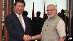 Narendra Modi et Xi Jinping à Ahmadabad en Inde le 7 septembre 2014.