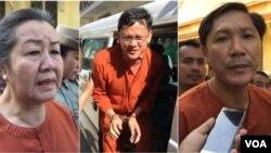 លោកស្រីលឹម មុន្នី (ឆ្វេង) មន្ត្រីសិទ្ធិមនុស្សនៃសមាគមអាដហុក លោក នី ចរិយា អគ្គលេខាធិការរងគ.ជ.ប. (កណ្តាល) និងលោក នី សុខា មន្ត្រីសិទ្ធិមនុស្សនៃសមាគមអាដហុក។ (VOA Khmer)