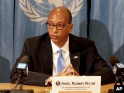 FILE - Ambassador Robert Wood, U.S. permanent representative to the Conference on Disarmament in Geneva, speaks at the U.N.'s European headquarters in Geneva, Switzerland, April 19, 2018.
