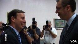 Senator Kris Marfi i premijer Srbije Alkeksandar Vučić prilikom susreta u Beogradu, 15. oktobar 2014.