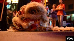 The head of the dragon used by the Chung Wah Dance Troupe. The dragon represents good luck and prosperity, February 2, 2013 (Peter Cox/VOA).
