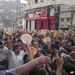 叙利亚民众抗议阿萨德总统的政府