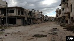 Shows destruction in the Baba Amr neighborhood of the central Syrian city of Homs (File photo).