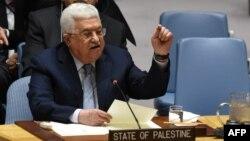 Tổng thống Palestine Mahmoud Abbas phát biểu tại Hội đồng Bảo an Liên hiệp quốc ở New York, ngày 20/2/2018.