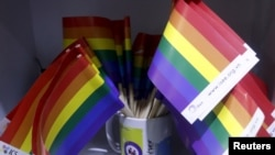 FILE - Rainbow flags are seen at social research institute during a meeting of gays in Hanoi, Vietnam, Nov. 26, 2015.