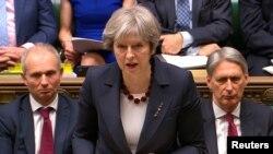 Perdana Menteri InggrisTheresa May berbicara di depan parlemen di London (foto: dok).