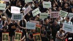 지난 2009년 홍콩에서 중국의 언론자유를 촉구하며 벌어진 시위. (자료사진)