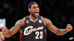 FILE - Cleveland Cavaliers forward LeBron James reacts during the second half against the Los Angeles Lakers in an NBA basketball game in Los Angeles.