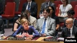 资料照- 美国常驻联合国代表鲍尔2015年8月7日在安理会就调查叙利亚境内使用化学武器的决议发言。