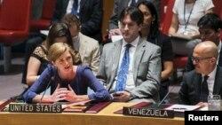 Dubes Amerika Serikat untuk PBB, Samantha Power, saat menyampaikan resolusi untuk melakukan investigasi penggunaan senjata kimia di Suriah dalam rapat Dewan Keamanan PBB di New York, 7 Agustus 2015 (Foto: dok).
