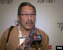 Ngawang Norbu, a Tibetan-American and Tibet supporter shown in this photo taken from video, attended Tibet Lobby Day on Capitol Hill in Washington, March 2017.