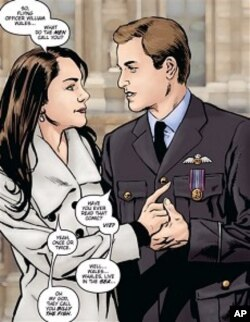 "Photo of an illustration for the comic book "" Kate and William: A Very Public Love Affair"" . 2011 photo."