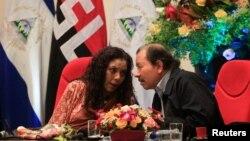 Daniel Ortega et sa femme, la vice-présidente Rosario Murillo, Managua, Nicargua, le 1er septembre 2017.