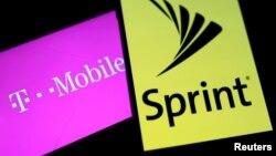 美国通信巨头T-Mobile与Sprint两大公司的标徽。