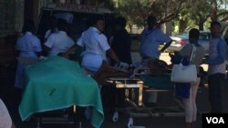 Some of the injured being admitted to a hospital.
