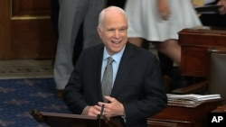 In this image from video provided by Senate Television, Sen. John McCain, R-Ariz. speaks the floor of the Senate on Capitol Hill in Washington, July 25, 2017. McCain returned to Congress for the first time since being diagnosed with brain cancer.