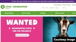 "This is a screenshot of Oxfam web site where visitors can donate meaningful gifts for the holidays, Thursday, Dec. 24, 2015. ""All the money Oxfam makes from selling goats will be spent on projects that help people generate an income, put food on the table and learn to cope with the impact of climate change,"" said Lindsey Bassett, manager of Oxfam Unwrapped."