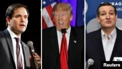 미 공화당 대선 경선에서 선두를 달리고 있는 도널드 트럼프 후보(가운데)와 트럼프 후보를 추격 중인 마르코 루비오(왼쪽), 테드 크루즈 후보.
