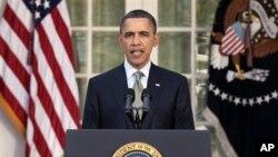 Rais Barack Obama akizungumzia kuhusu janga lililoikumba Japan kufuatia tetemeko la ardhi na tsunami lililotokea wiki moja iliyopita nchini humo.