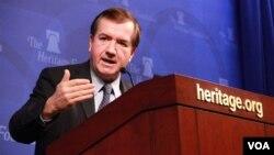 20일 워싱턴의 민간연구소인 헤리티지 재단에서 준비 중인 대북 제재 법안에 대해 설명하는 에드 로이스 미 하원 외교위원장.