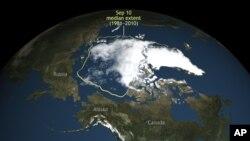 Na ovoj slici, koju je objavio Nacionalni centar za podatke o snegu i ledu, vidi se da je led na Arktiku leta 2016. bio na svom drugom minimumu otkako su naučnici počeli da ga posmatraju preko satelita. (National Snow & Ice Data Center via AP)