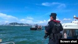 深圳警方海上巡邏-深圳市公安局網站截屏。