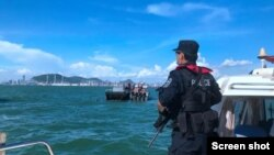 深圳警方海上巡逻-深圳市公安局网站截屏 Shenzhen Police patrolling on the sea (screen shot from Shenzhen PSB website )
