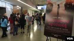 Audience members arrive for a screening of 'First They Killed My Father,' the Angelina Jolie film adaptation of an English-language memoir of a 5-year-old girl who witnessed the Khmer Rouge takeover of Cambodia in 1975.