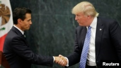 FILE - In this Aug. 31, 2016 photo, Mexican President Enrique Pena Nieto and then-Republican presidential nominee Donald Trump shake hands after a joint statement in Mexico City.