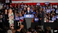 争取总统大选民主党提名的前美国副总统拜登在南卡罗来纳州的竞选集会讲话。(2020年2月29日)