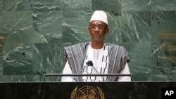 Le Premier ministre malien Choguel Maiga s'adresse à la 76e session de l'Assemblée générale des Nations Unies au siège de l'ONU, le 25 septembre 2021.