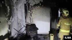 عکسی از داخل حسینیه درکه بعد از مهار آتش سوزی