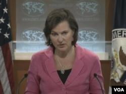 美国国务院发言人努兰(VOA视频截图)