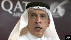 Akbar al-Baker, directeur général de Qatar Airways, intervient lors d'une conférence de presse en marge du salon Arabian Travel Market à Dubaï, le 24 avril 2017.