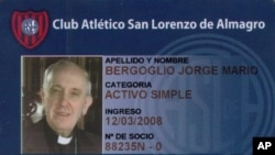 This screen shot image released by the San Lorenzo de Almagro soccer team shows a copy of the club's identification card belonging to Argentina's Cardinal Jorge Bergoglio.