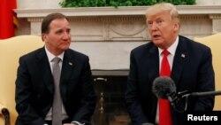 美國總統川普在與瑞典首相斯特凡·勒文會面期間談到北韓核問題。