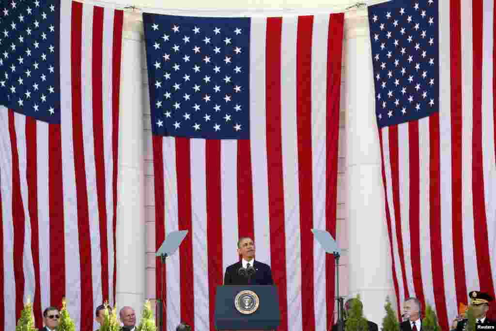 U.S. President Barack Obama speaks during a Veterans Day ceremony at Arlington National Cemetery near Washington.
