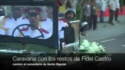 Caravana con las cenizas de Fidel Castro camino al cementerio