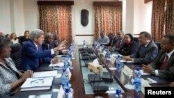 美國國務卿克里5月1日與非洲埃塞俄比亞、烏干達、肯尼亞等國外交部長會面。