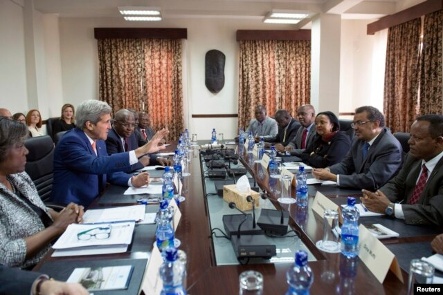 U.S. Secretary of State John Kerry (2nd L) participates in a meeting with Ethiopian Minister of Foreign Affairs Tedros Adhanom (2nd R), Kenyan Foreign Minister Amina Mohamed (3rd R) and Ugandan Foreign Affairs Minister Sam Kutesa (R) in Addis Ababa, May 1.